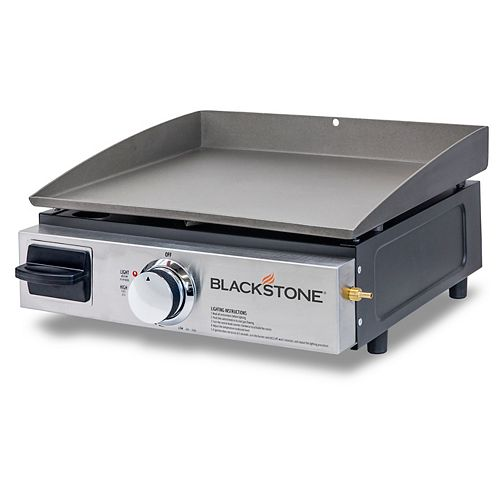 17-inch Table Top 1-Burner Portable Propane BBQ in Stainless Steel and Black with Griddle Top