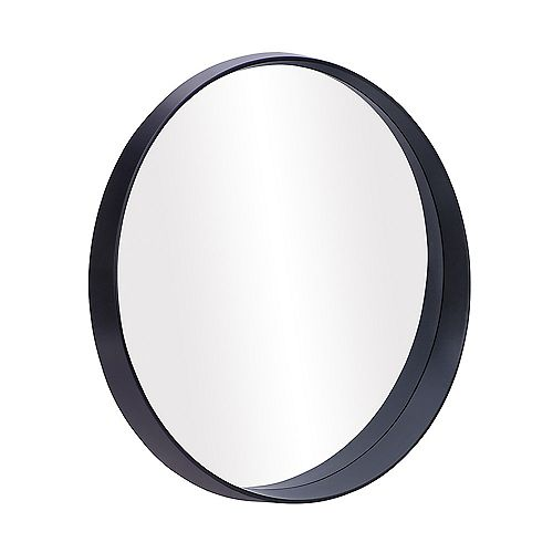 "Parsons, Round Satin Black Mirror 27.5"" x 27.5"""