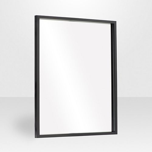 Urban Rectangle 30-inch x 40-inch Wall-Mounted Mirror in Black Satin