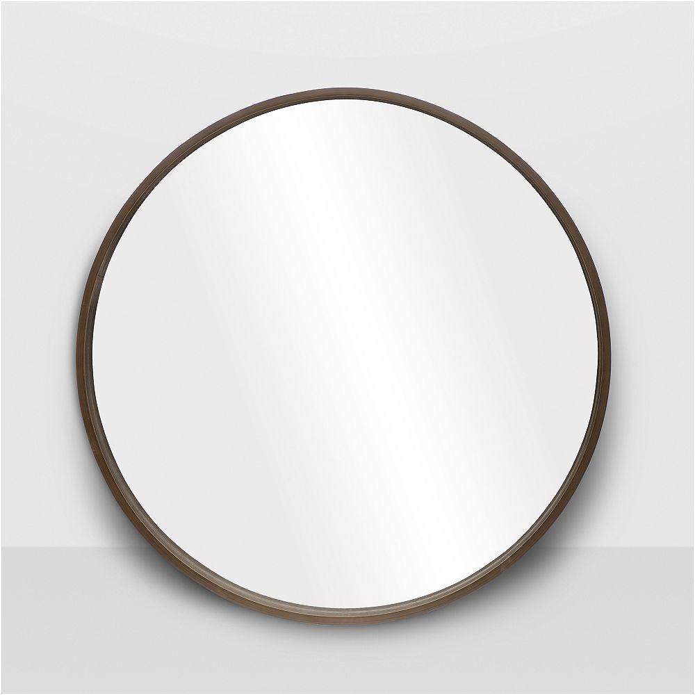 "The Tangerine Mirror Company Denmark Round Walnut Mirror 28"""