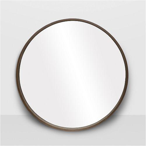 """Denmark Round Walnut Mirror 28"""""""