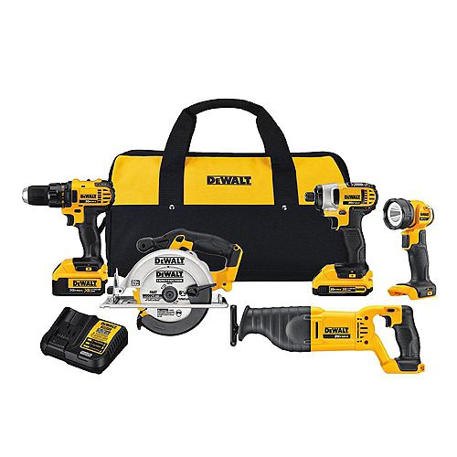 20V MAX Lithium-Ion Cordless Combo Kit (5-Tool) with 2Ah and 4Ah Batteries, Charger and Bag