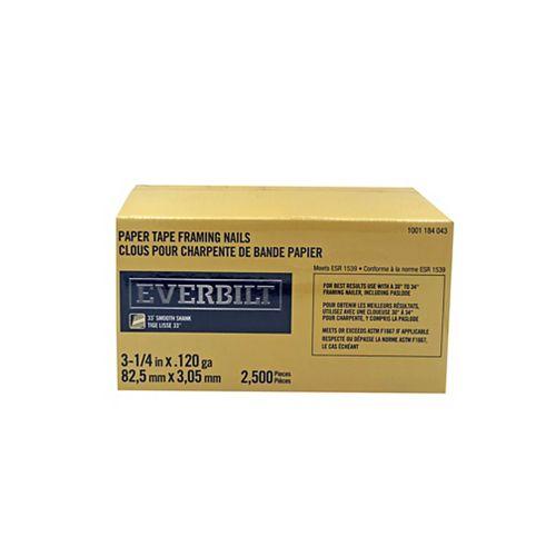 Everbilt Strip Nails - 33 Degree - 3 1/4 inch Leg X .120 Ga - Smth - Brt