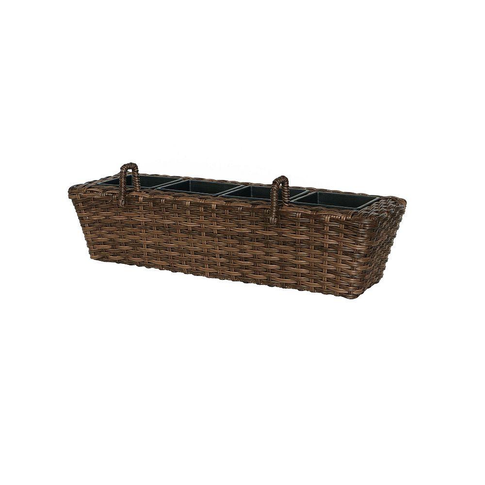 Hampton Bay 24-inch Wicker Balcony Box in Brown