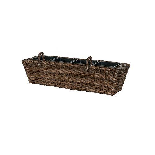 24-inch Wicker Balcony Box in Brown