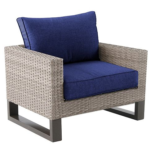 Park Heights All-Weather Wicker Patio Club Chair with Navy Cushion