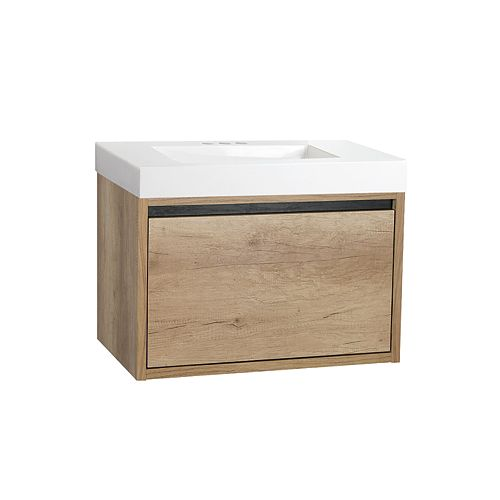 30-inch Wall-Hung Bathroom Vanity in Natural Wood with Cultured Marble Top in White