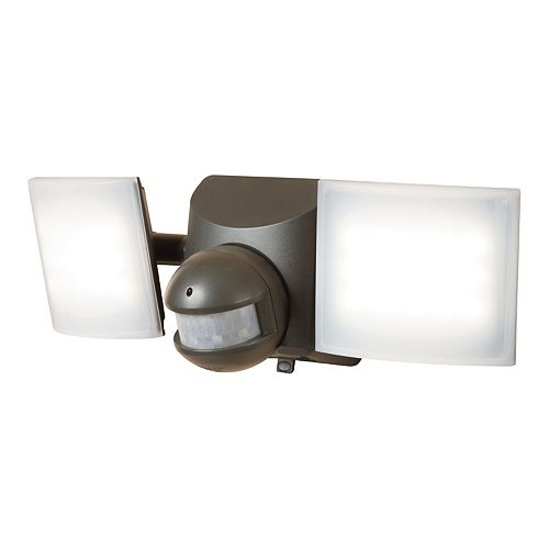 All-Pro 180° Bronze Solar Motion Active Twin Head Exterieur Integre Lumiere Flood LED