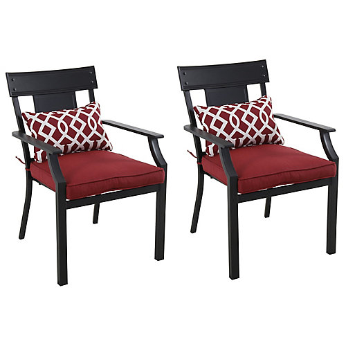 Coopersmith Steel Patio Dining Chair in Red (2-Pack)