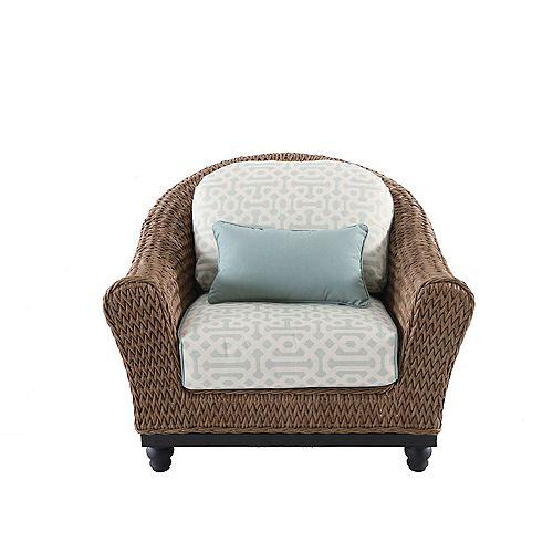 Camden Wicker Patio Lounge Chair in Light Brown with Sunbrella Fretwork Mist Cushion (Set of 2)