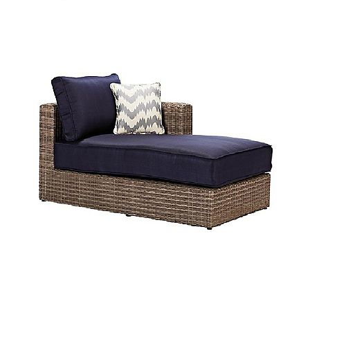 Naples All-Weather Wicker Corner Patio Sectional Chaise in Grey with Hinged Cushions in Navy