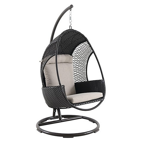 Woven Egg Swing with Seat and Back Cushion in Brown