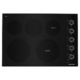 Table de cuisson électrique de 30 pouces en noir avec 5 éléments et boutons de commande