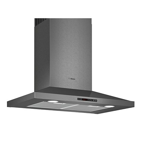 800 Series - 30 inch Pyramid Canopy Chimney Hood - 600 CFM - Black Stainless Steel