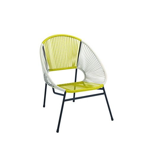 All-Weather Wicker Egg Patio Chair with Steel Frame in Yellow and White