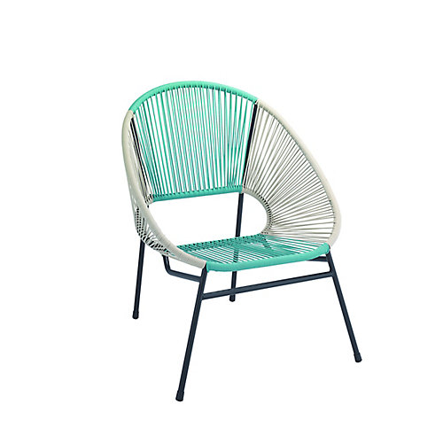 All-Weather Wicker Egg Patio Chair with Steel Frame in Blue and White