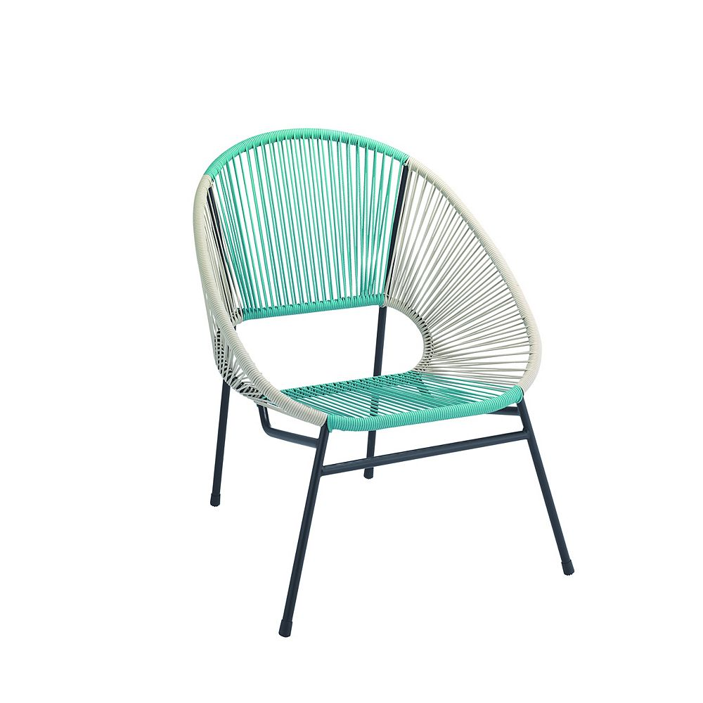 Hampton Bay All-Weather Wicker Egg Patio Chair with Steel Frame in Blue and White