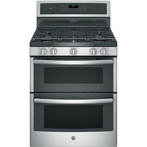 GE Profile 30-inch 6.8 cu. ft. Gas Double Oven Convection with Self-Cleaning Convection in Stainless Steel