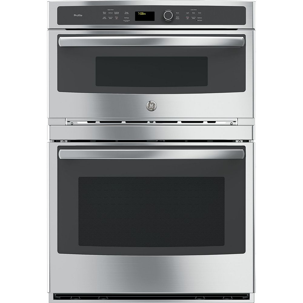 GE Profile Profile 30 in. Double Electric Wall Oven with Convection Self-Cleaning and Built-In Microwave in Stainless Steel