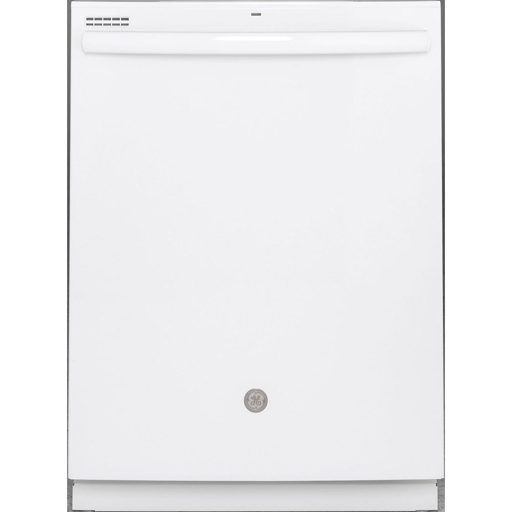 GE 24-inch Top Control Built-In Tall Tub Dishwasher in White with Steam Cleaning