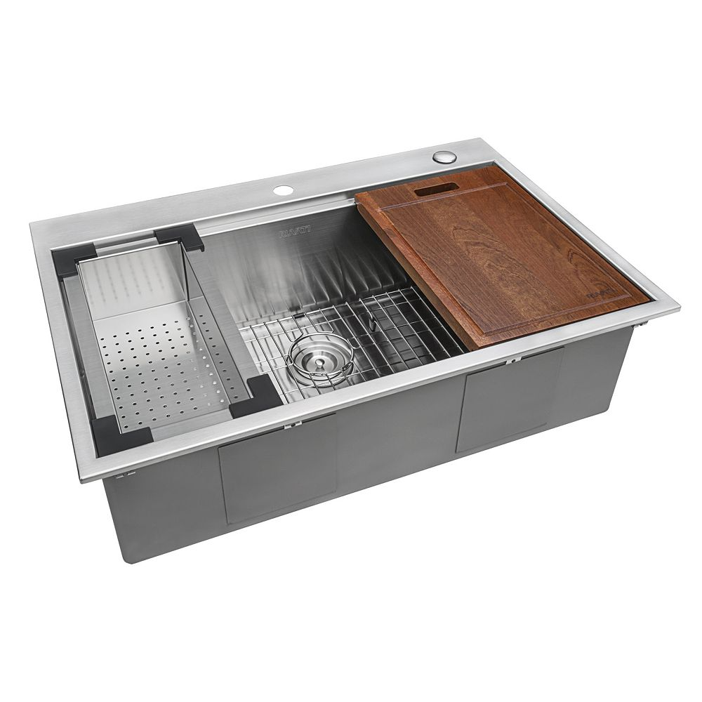 Ruvati Drop In Stainless Steel 33 Inch Workstation Top Mount Kitchen Sink 16 Gauge Single The Home Depot Canada