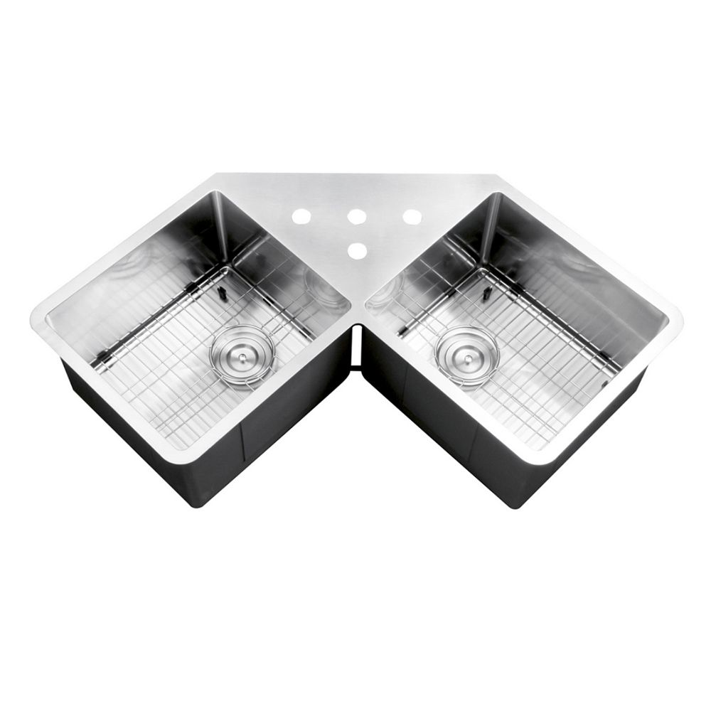 Ruvati 50 50 Undermount 16 Gauge Stainless Steel 44 Inch Corner Butterfly Double Bowl Kitc The Home Depot Canada