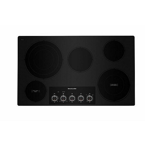 36-inch Electric Cooktop in Black with 5 Elements and Knob Controls