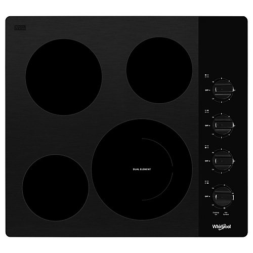 24-inch Compact Electric Cooktop in Black with 4 Elements