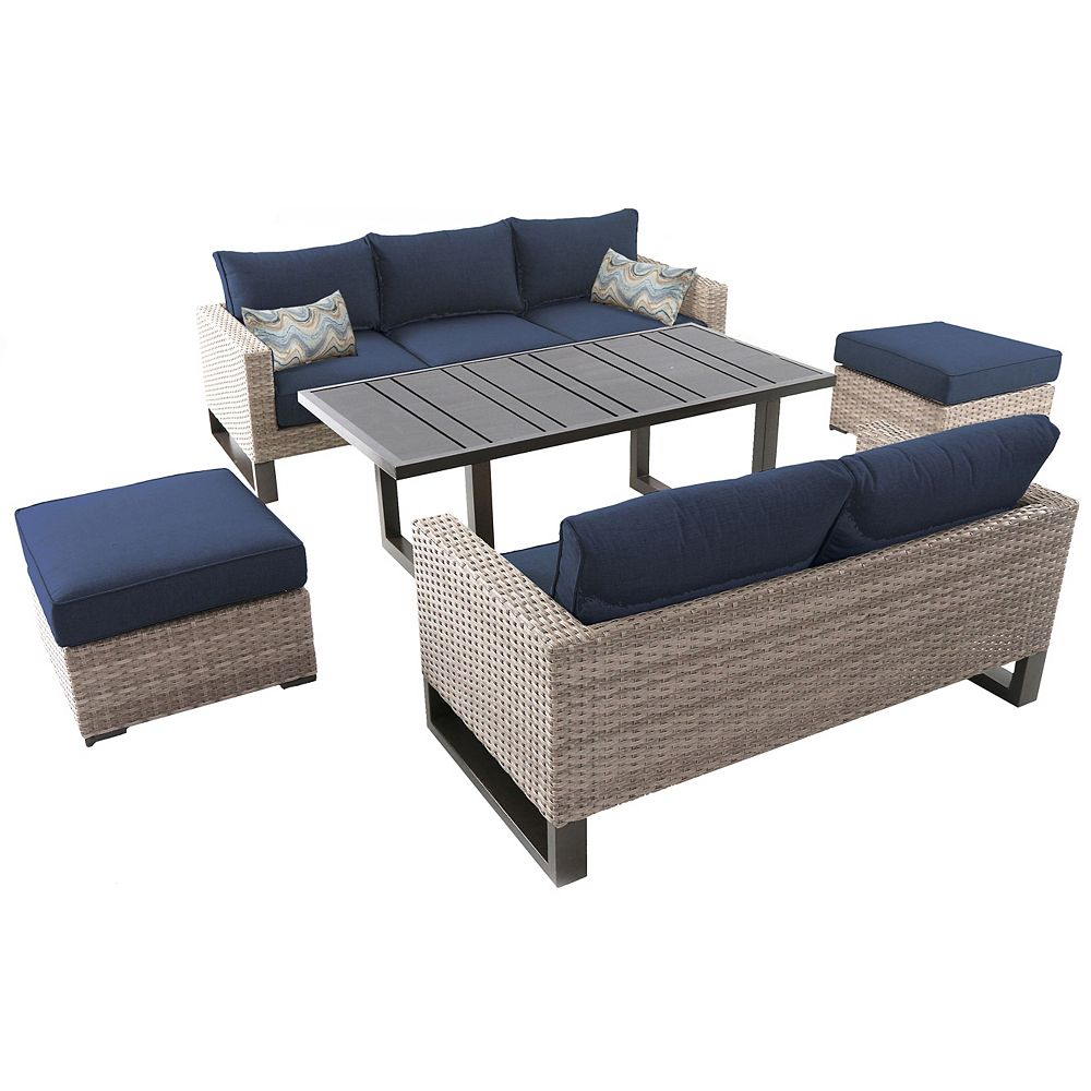 Hampton Bay Park Heights 5-Piece Wicker Outdoor Patio Deep Seating Set with Dining Height Table and Navy Cushions