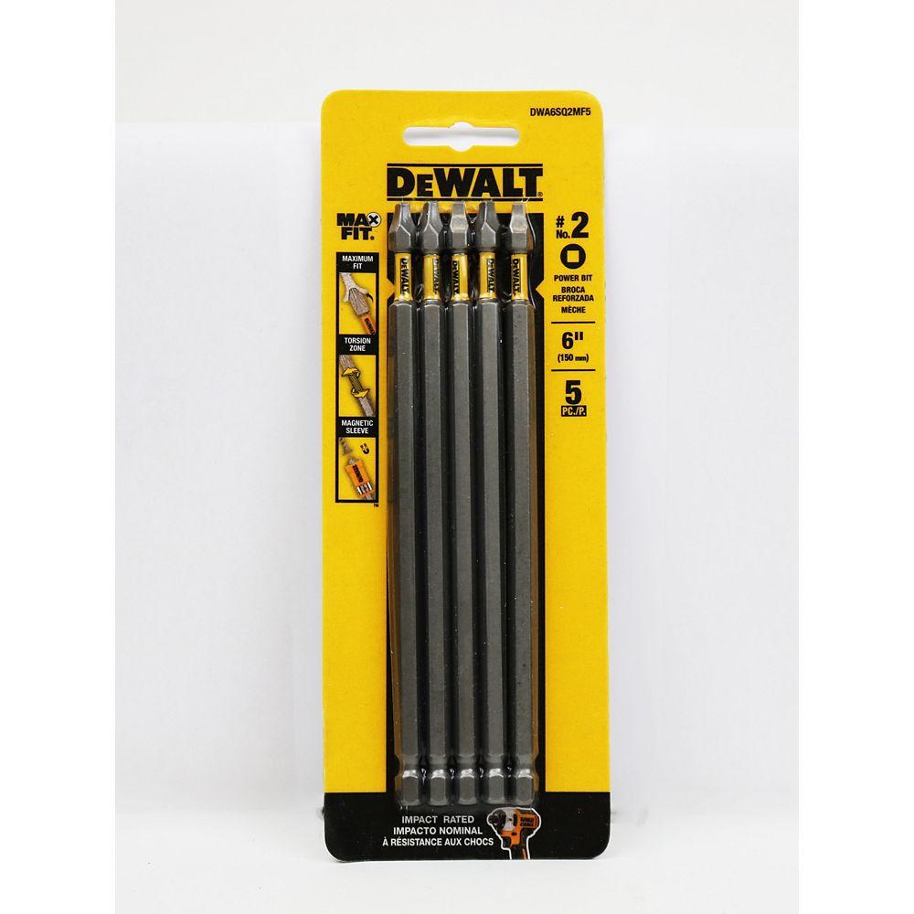 DEWALT MAXFIT 2 x 6-inch Steel Square Screwdriving Bit (5PK)