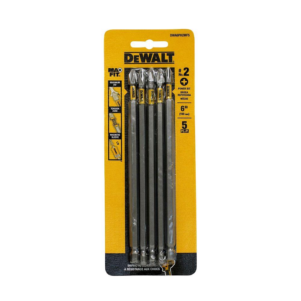 DEWALT MAXFIT 2 x 6 po en acier - Embout de vissage Phillips (5PK)