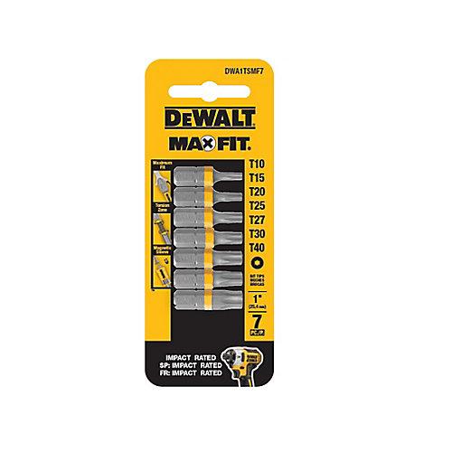 MAXFIT 1-inch Steel Security Torx Drill Bit Tip (7PK)