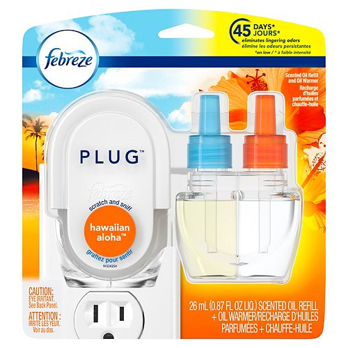 Febreze Plug Scented Oil Refill and Oil Warmer, Hawaiian Aloha, 0.87 fl oz