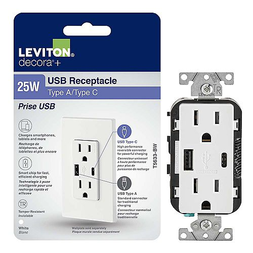 Decora USB Charger Tamper-Resistant 15A Receptacle 5.1A Type A/Type-C (Wallplate not included)