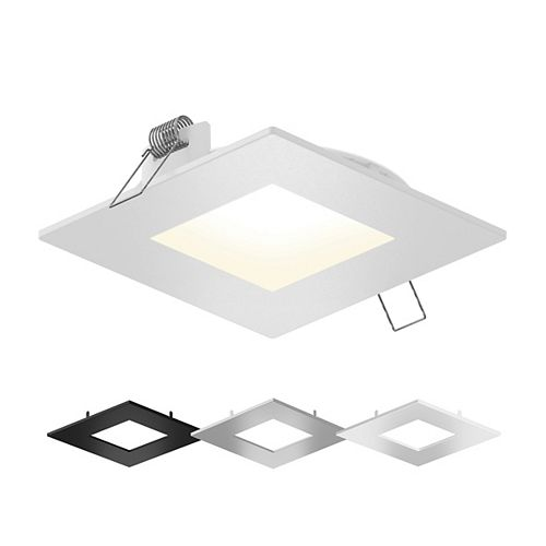 6-inch Square LED Recessed Lighting Kit With Interchangeable Trims and Selectable Colour Temperature