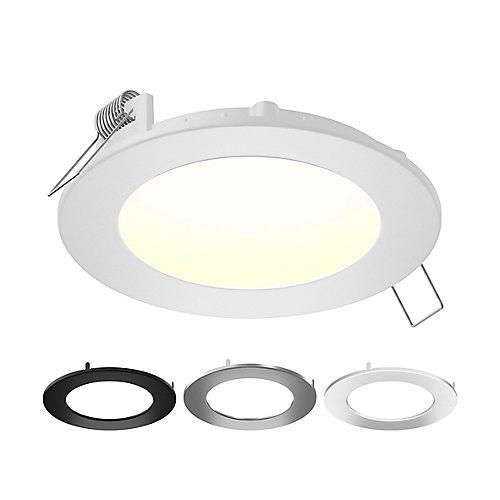 Jeu d'installation pour luminaire encastré rond à DEL intégré certifié IC, multicolore, 4 po