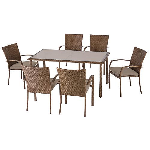 Delaronde Ensemble de salle à manger de patio en osier brun clair avec 7 pièces