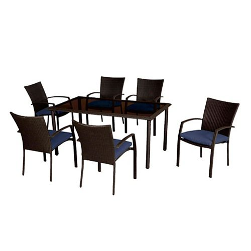 Delaronde Dark Brown 7-Piece Wicker Patio Dining Set with Navy Seat Pad