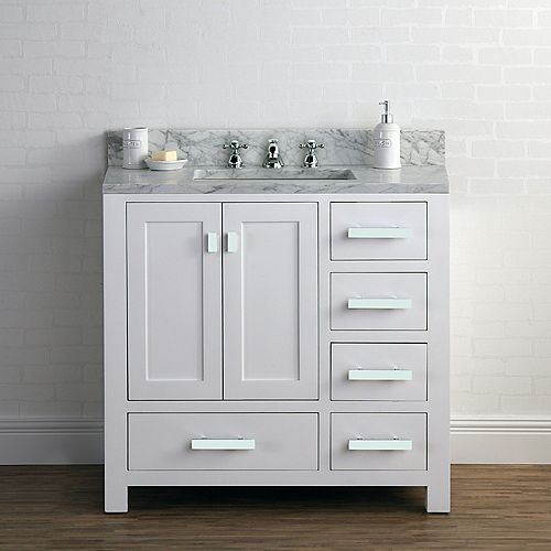 Madison 36-inch W Vanity in White with Marble Top in Carrara White