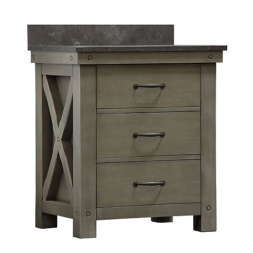Aberdeen 30-inch W Vanity in Grizzle Grey with Granite Top in Blue Limestone