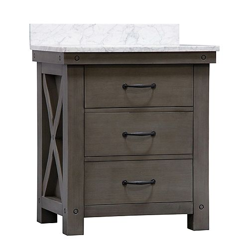 Aberdeen 30-inch W Vanity in Grizzle Grey with Marble Top in Carrara White