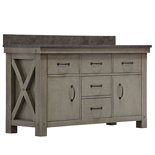 Aberdeen 60-inch W Vanity in Grizzle Grey with Granite Top in Blue Limestone