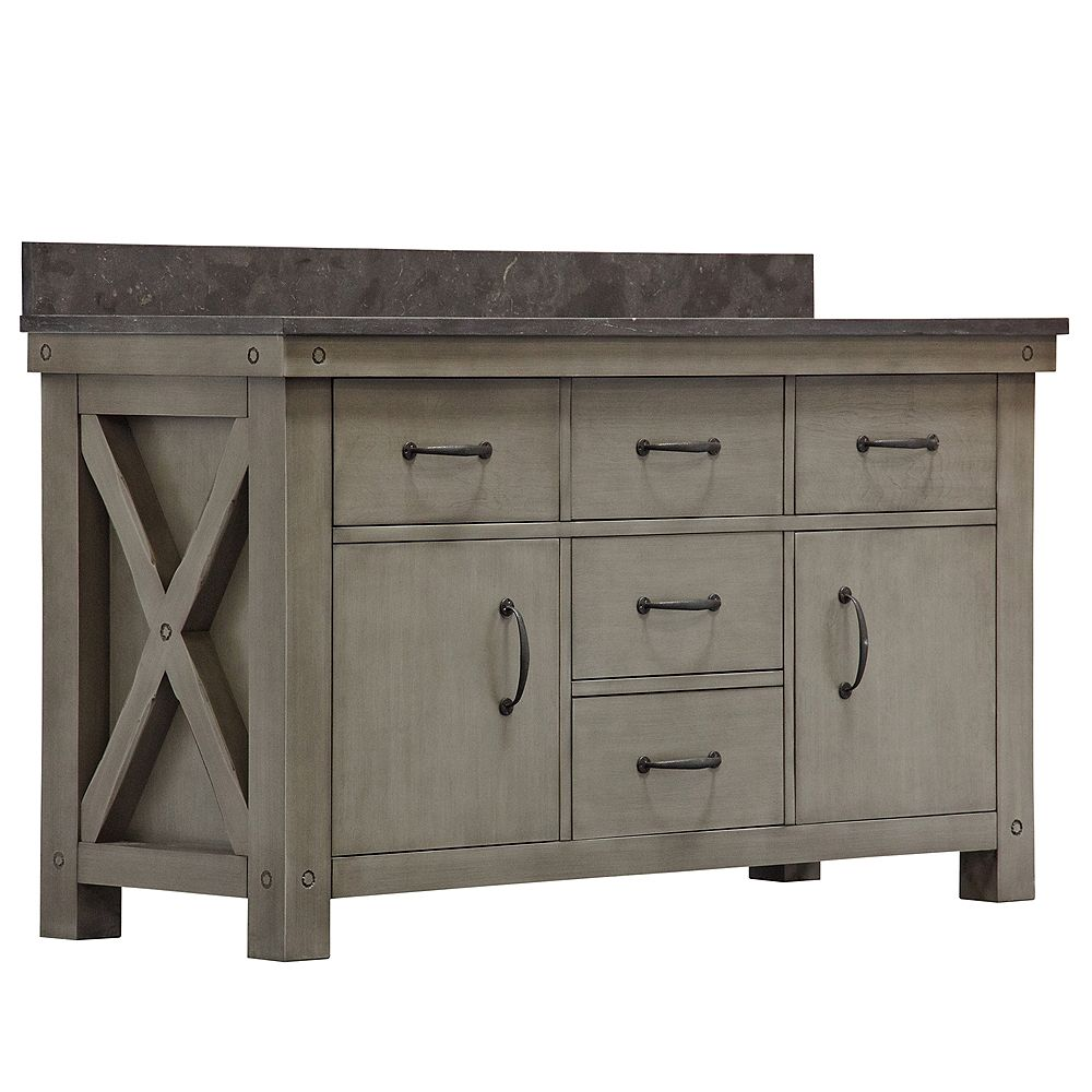 Water Creation Aberdeen 60-inch W Vanity in Grizzle Grey with Granite Top in Blue Limestone and Matching Mirror