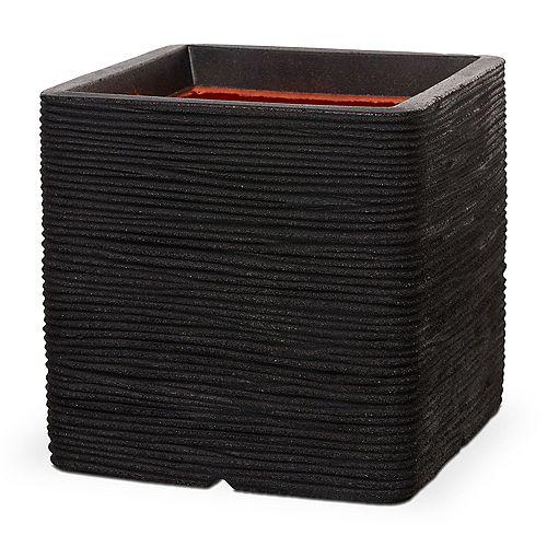Home Decorators Collection 11.80-inch L x 11.80-inch W x 11.80-inch H Black Polyurethane Ribbed Square Planter