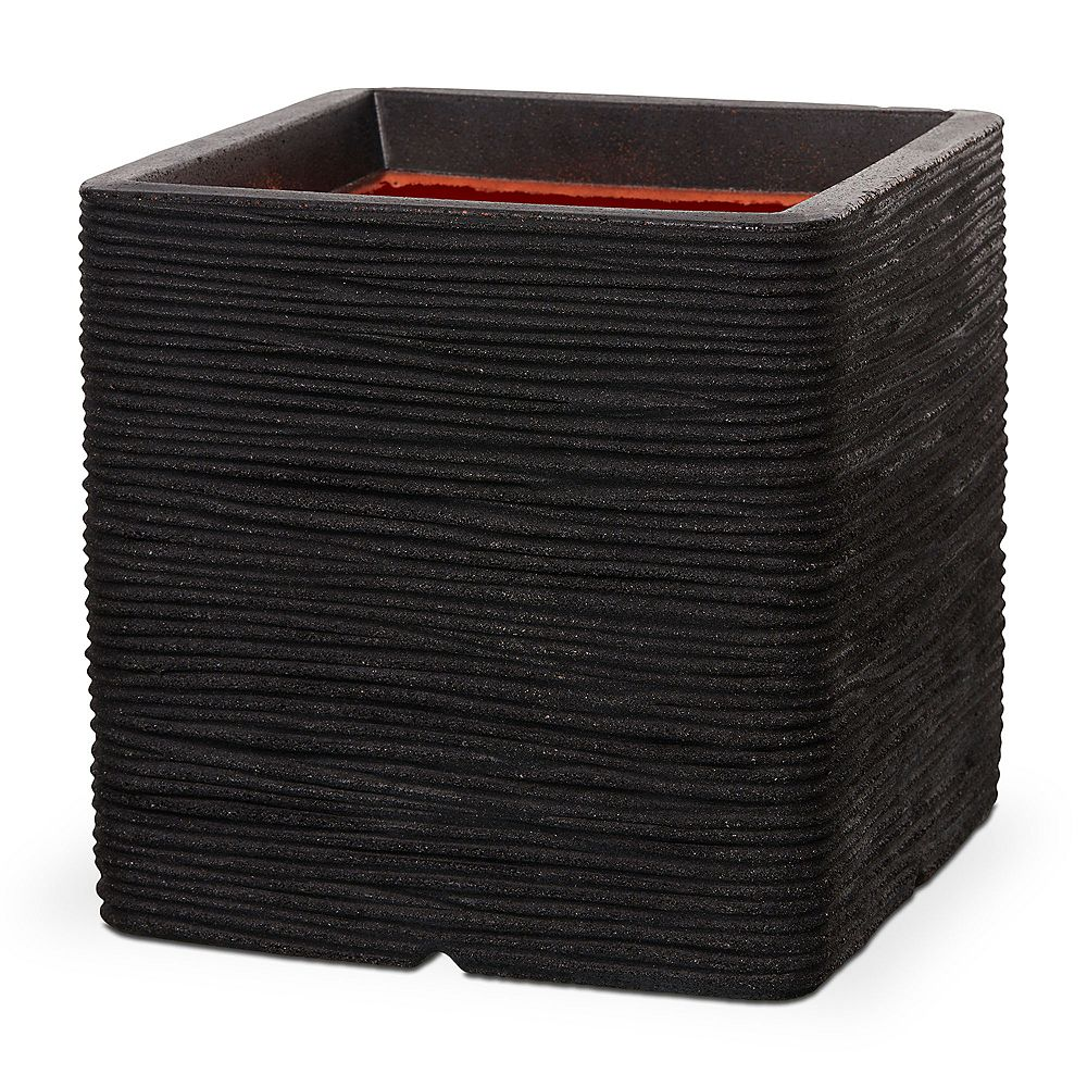 Home Decorators Collection 15.75-inch L x 15.75-inch W x 15.75-inch H Black Polyurethane Ribbed Finish Square Planter