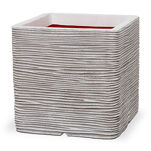 Ivory Ribbed Square Planter