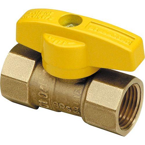 BrassCraft Valve à bille à gaz, droite 1/2 po TEF x 1/2 po TEF