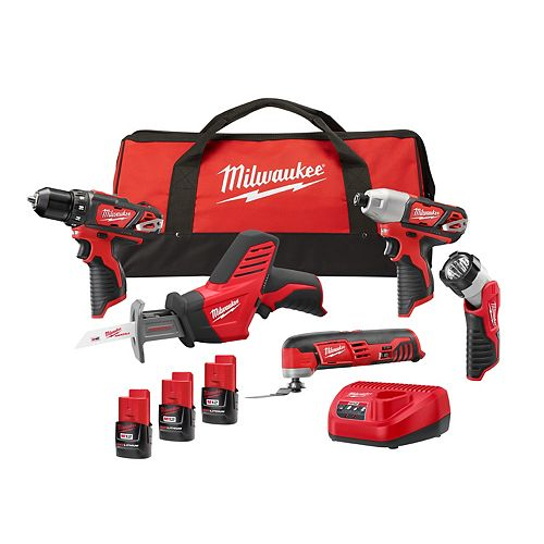 M12 12V Lithium-Ion Cordless Combo Kit (5-Tool) with (3) 1.5Ah Batteries, Charger & Tool Bag