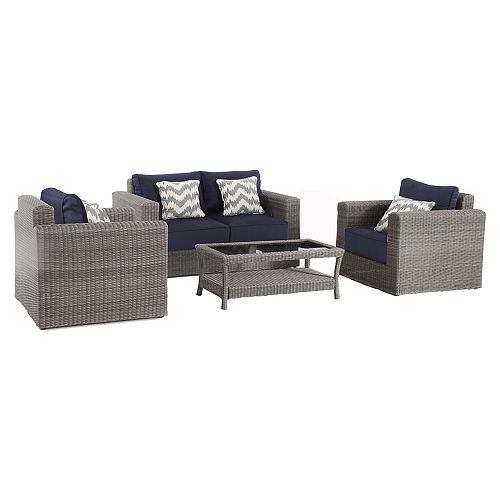 Naples Grey 4-Piece All-Weather Wicker Outdoor Patio Deep Seating Set with Navy Cushions