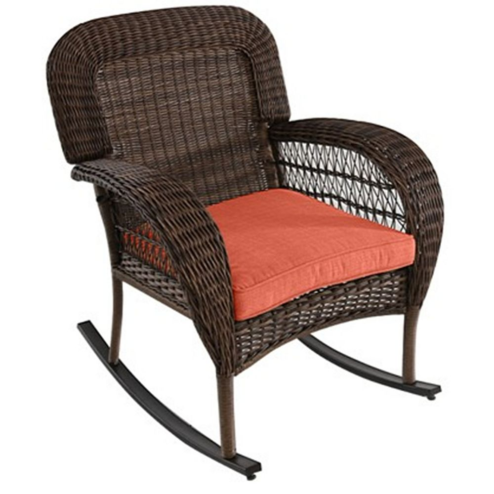 Hampton Bay Beacon Park Wicker Patio Dining Rocking Chair with Orange Cushion
